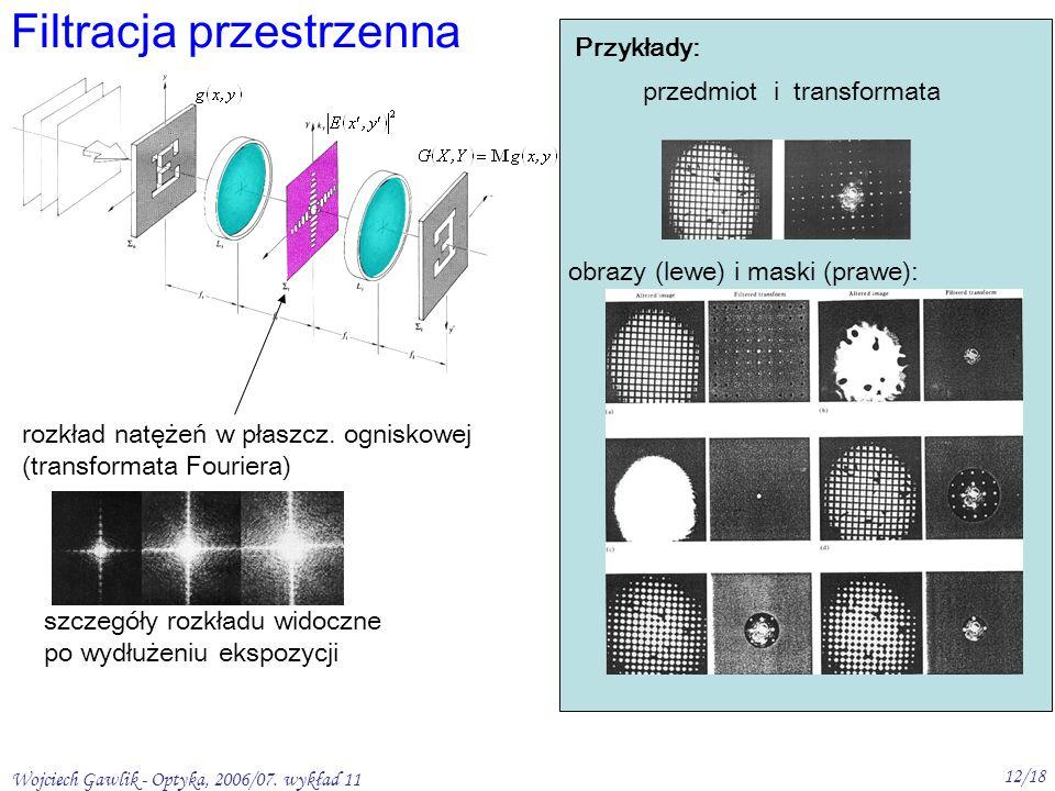 Wojciech Gawlik - Optyka, 2006/07. wykład 11 12/18 Filtracja przestrzenna rozkład natężeń w płaszcz. ogniskowej (transformata Fouriera) szczegóły rozk