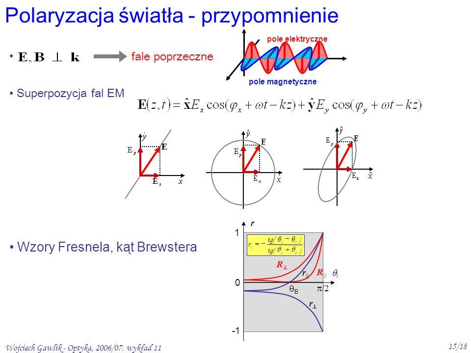 Wojciech Gawlik - Optyka, 2006/07. wykład 11 15/18 Polaryzacja światła - przypomnienie pole elektryczne pole magnetyczne Superpozycja fal EM r 1 0 /2
