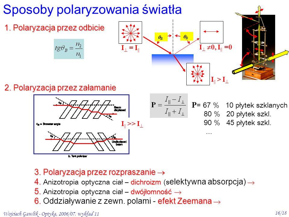 Wojciech Gawlik - Optyka, 2006/07. wykład 11 16/18 Sposoby polaryzowania światła 1. Polaryzacja przez odbicie B B 2. Polaryzacja przez załamanie I = I