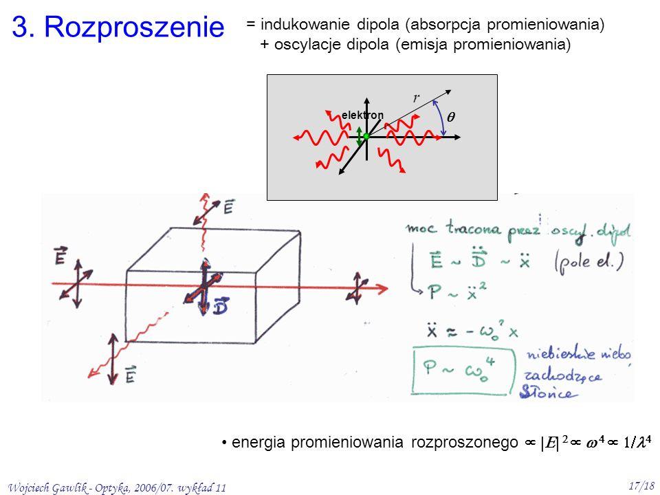 Wojciech Gawlik - Optyka, 2006/07. wykład 11 17/18 energia promieniowania rozproszonego elektron r 3. Rozproszenie = indukowanie dipola (absorpcja pro