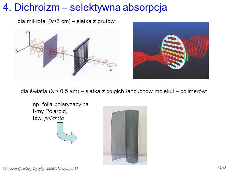 Wojciech Gawlik - Optyka, 2006/07. wykład 11 18/18 4. Dichroizm – selektywna absorpcja dla mikrofal ( 3 cm) – siatka z drutów: dla światła ( 0,5 m) –
