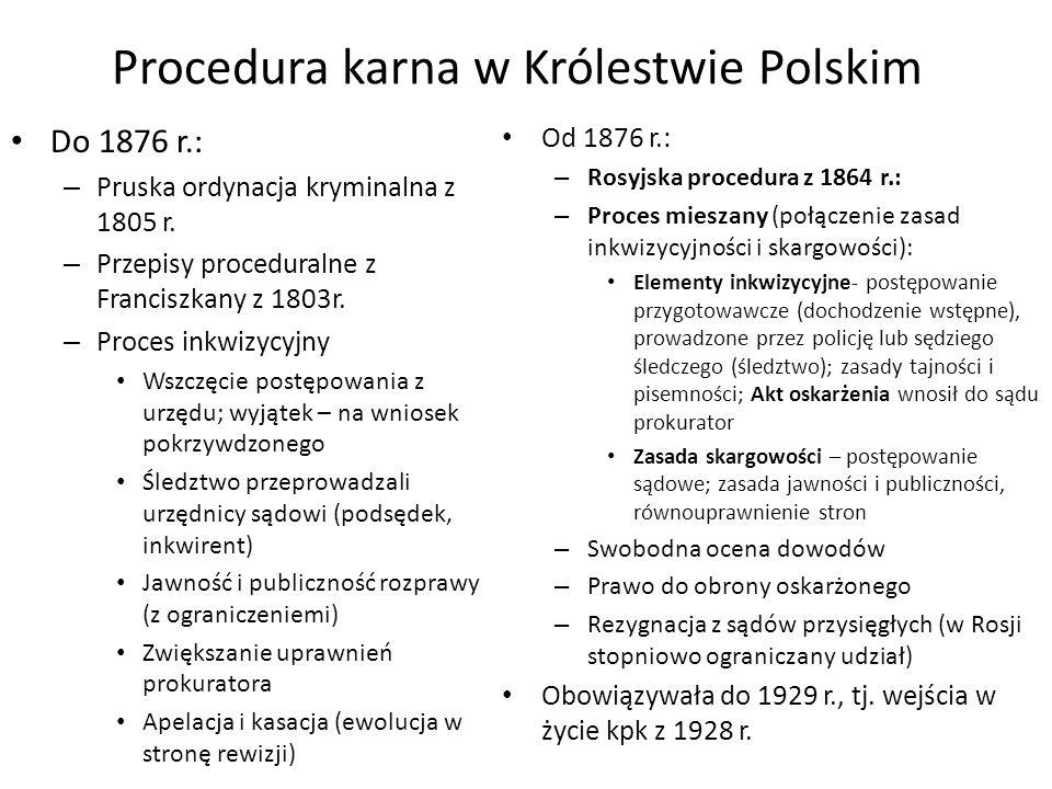 Procedura karna w Królestwie Polskim Do 1876 r.: – Pruska ordynacja kryminalna z 1805 r.