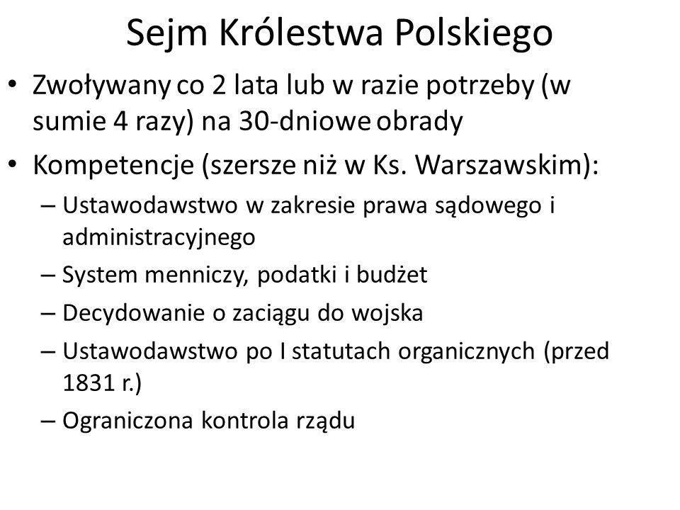 Sejm Królestwa Polskiego Zwoływany co 2 lata lub w razie potrzeby (w sumie 4 razy) na 30-dniowe obrady Kompetencje (szersze niż w Ks.