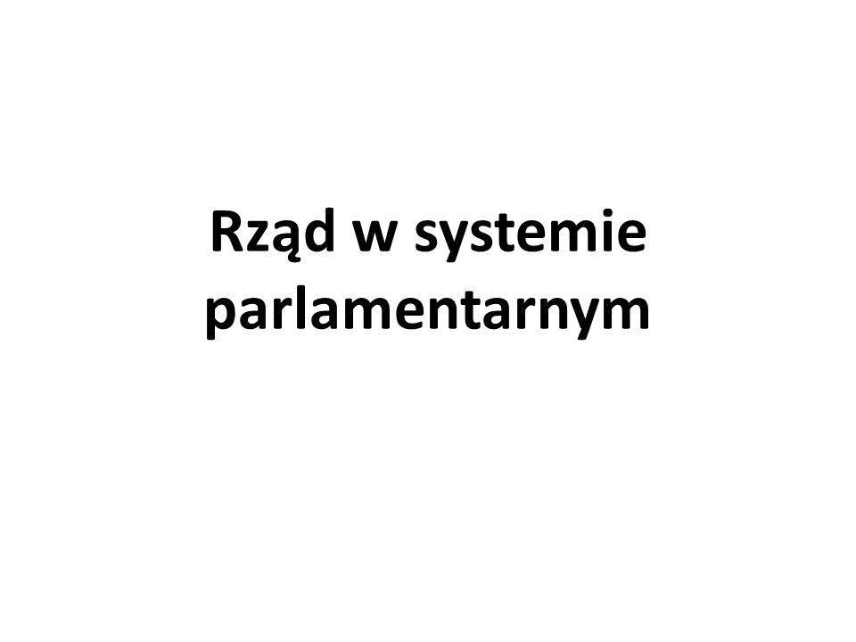 Założenia ustrojowe określające pozycję rządu Założenia normatywne zasada podziału władzy - metoda wyodrębnienia organizacyjnego, funkcjonalnego, kompetencyjnego władzy wykonawczej; wypełnienie relacji między władzami procedurami równowagi i hamowania; przykłady votum zaufania i votum nieufności równoważone możliwością rozwiązania parlamentu, władza ustalania budżetu równoważona ścisłą kontrolą wydatkowania środków; struktura władzy wykonawczej: rząd, członkowie rządu, szef rządu, inne podmioty (np.