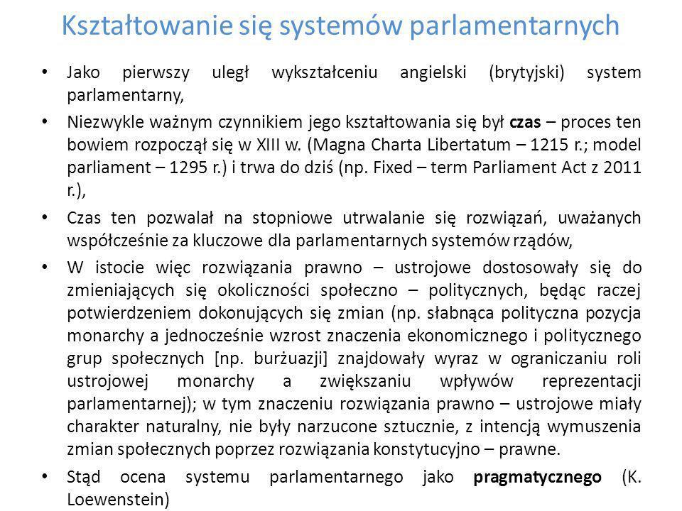 Założenia polityczne rola partii politycznych jako organizatora życia parlamentarnego: - ośrodek centralizacji zachowań parlamentarnych, - ośrodek koordynacji działań rządu i parlamentu, - centrum programowania i innowacji politycznych relacje większość - mniejszość, zakres podmiotowy działania relacji większość – mniejszość (opozycja parlamentarna, opozycja pozaparlamentarna, opozycja systemowa) zasada większość jako sprawiedliwa i akceptowalna reguła wyznaczająca ośrodek uprawniony do podejmowania rozstrzygnięć w życiu publicznym, opozycja jako realizacja prawa mniejszości do wykonywania swoich praw politycznych, spór o prawa opozycji – czy opozycja staje się podmiotem praw dopiero z momentem przeistoczenia się w większość.