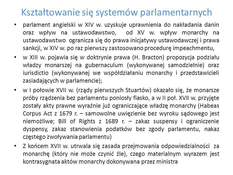 Kształtowanie się systemów parlamentarnych Na początku XVIII w.