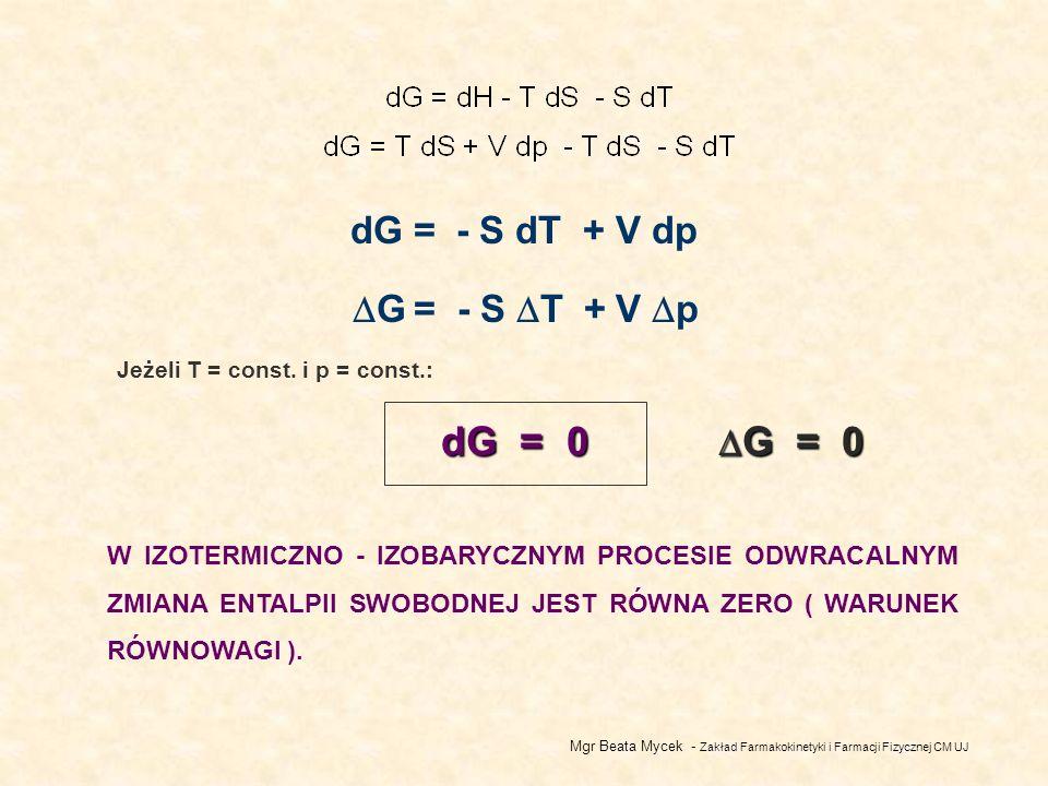 Mgr Beata Mycek - Zakład Farmakokinetyki i Farmacji Fizycznej CM UJ dG = - S dT + V dp G = - S T + V p dG = 0 G = 0 G = 0 Jeżeli T = const.