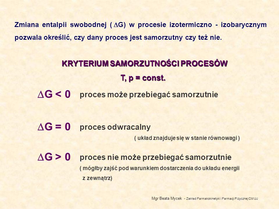 Mgr Beata Mycek - Zakład Farmakokinetyki i Farmacji Fizycznej CM UJ Zmiana entalpii swobodnej ( G) w procesie izotermiczno - izobarycznym pozwala określić, czy dany proces jest samorzutny czy też nie.