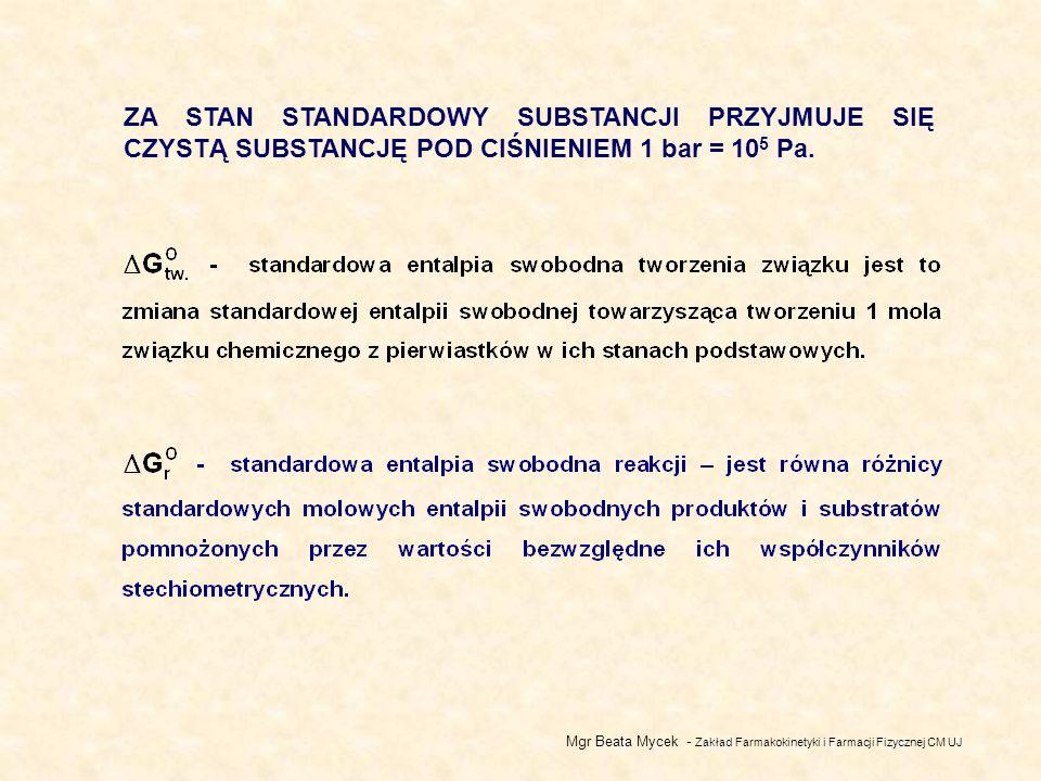 Mgr Beata Mycek - Zakład Farmakokinetyki i Farmacji Fizycznej CM UJ ZA STAN STANDARDOWY SUBSTANCJI PRZYJMUJE SIĘ CZYSTĄ SUBSTANCJĘ POD CIŚNIENIEM 1 bar = 10 5 Pa.