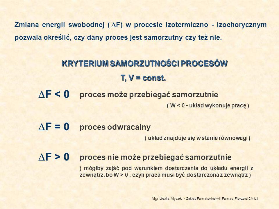 Mgr Beata Mycek - Zakład Farmakokinetyki i Farmacji Fizycznej CM UJ Zmiana energii swobodnej ( F) w procesie izotermiczno - izochorycznym pozwala określić, czy dany proces jest samorzutny czy też nie.