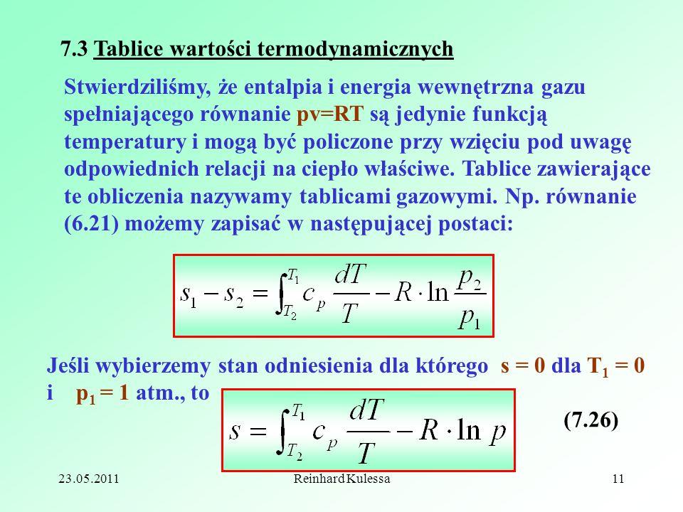 23.05.2011Reinhard Kulessa11 Stwierdziliśmy, że entalpia i energia wewnętrzna gazu spełniającego równanie pv=RT są jedynie funkcją temperatury i mogą