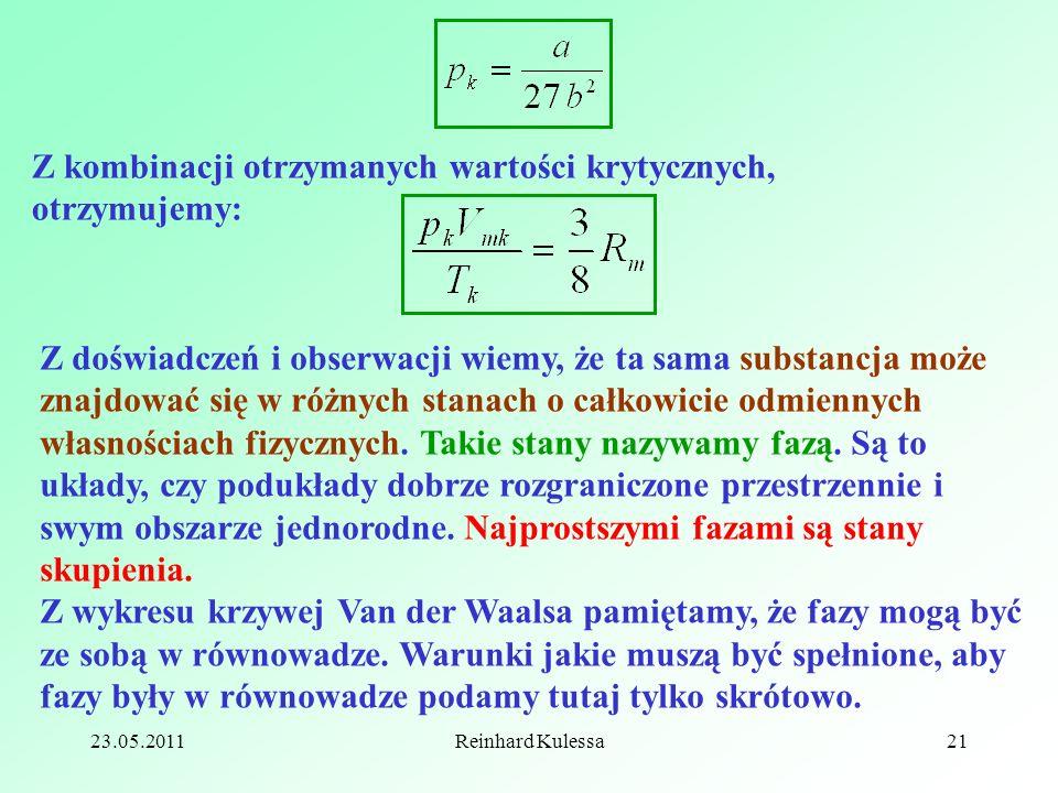 23.05.2011Reinhard Kulessa21 Z kombinacji otrzymanych wartości krytycznych, otrzymujemy: Z doświadczeń i obserwacji wiemy, że ta sama substancja może