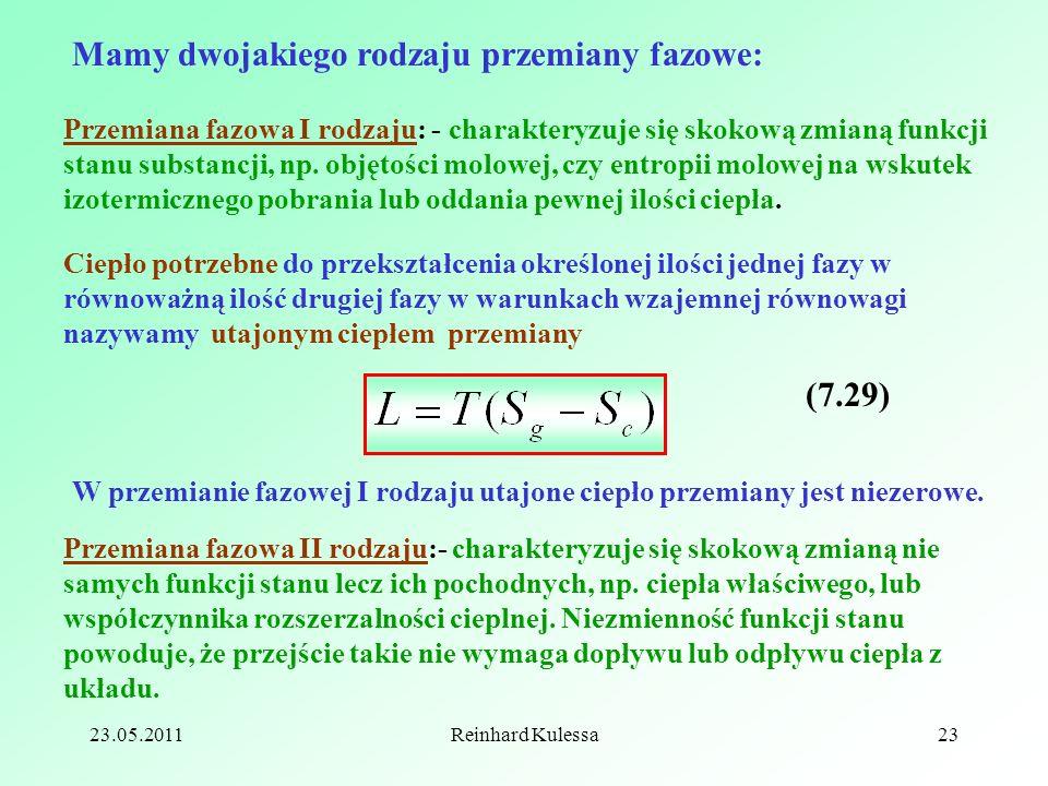 23.05.2011Reinhard Kulessa23 Przemiana fazowa I rodzaju: - charakteryzuje się skokową zmianą funkcji stanu substancji, np. objętości molowej, czy entr