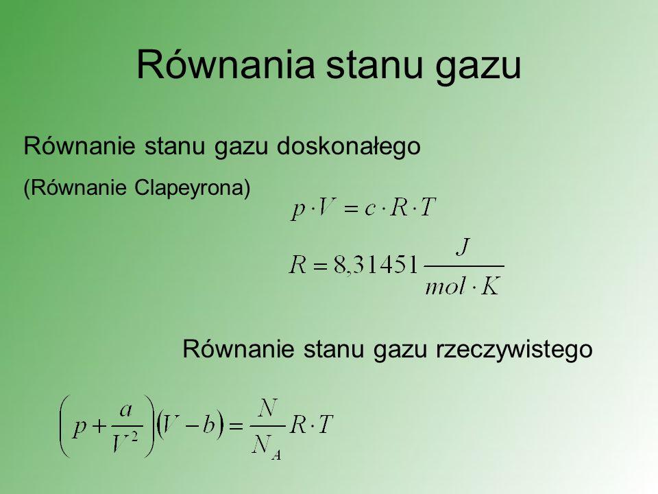 Równania stanu gazu Równanie stanu gazu doskonałego (Równanie Clapeyrona) Równanie stanu gazu rzeczywistego
