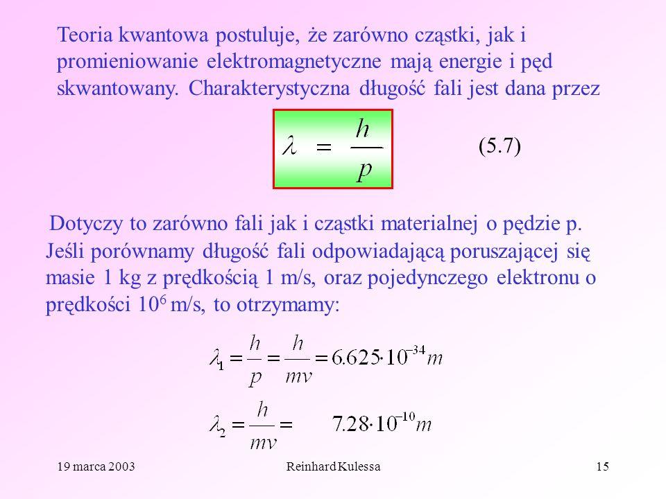 19 marca 2003Reinhard Kulessa15 Teoria kwantowa postuluje, że zarówno cząstki, jak i promieniowanie elektromagnetyczne mają energie i pęd skwantowany.