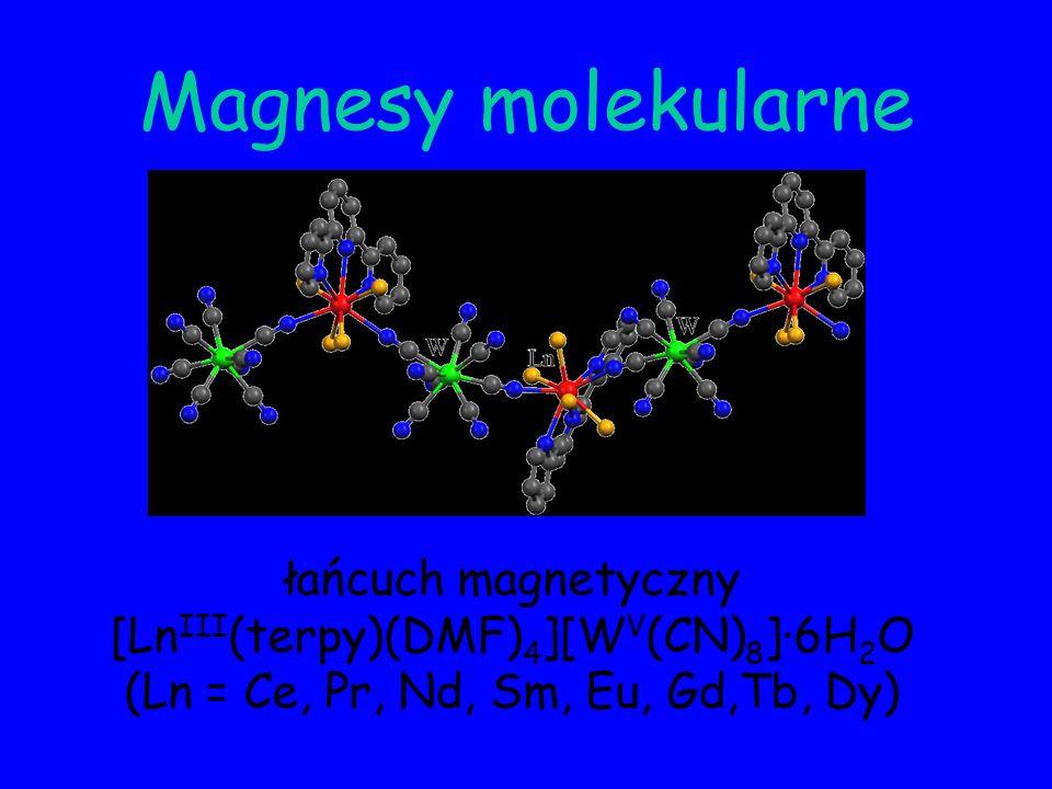 Równowagi spinowe (przejście spinowe, izomeria spinowa) Spin crossover (spin transition, spin equilibrium) zmiana multipletowości spinowej kompleksu jonu metalu o konfiguracji d 4, d 5, d 6 i d 7 indukowana termicznie, ciśnieniowo, naświetlaniem lub zewnętrznym polem magnetycznym Mn(II), Mn(III), Fe(II), Fe(III), Co(II), Co(III)