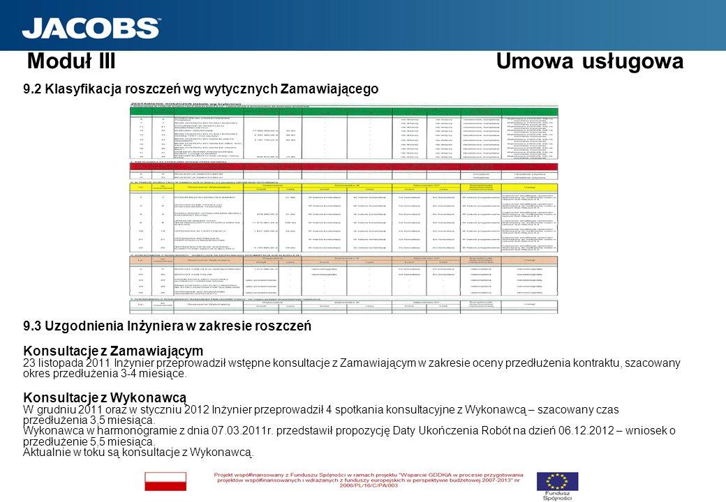 9.2 Klasyfikacja roszczeń wg wytycznych Zamawiającego 9.3 Uzgodnienia Inżyniera w zakresie roszczeń Konsultacje z Zamawiającym 23 listopada 2011 Inżyn
