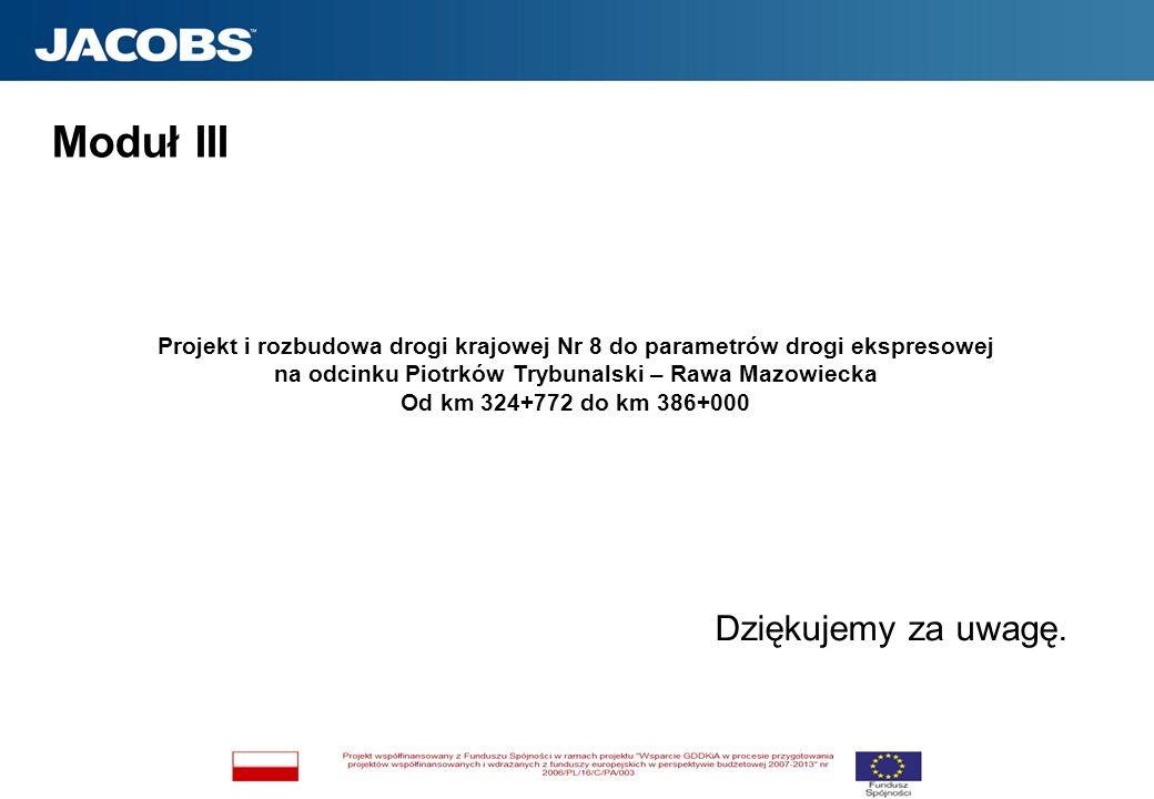 Dziękujemy za uwagę. Moduł III Projekt i rozbudowa drogi krajowej Nr 8 do parametrów drogi ekspresowej na odcinku Piotrków Trybunalski – Rawa Mazowiec