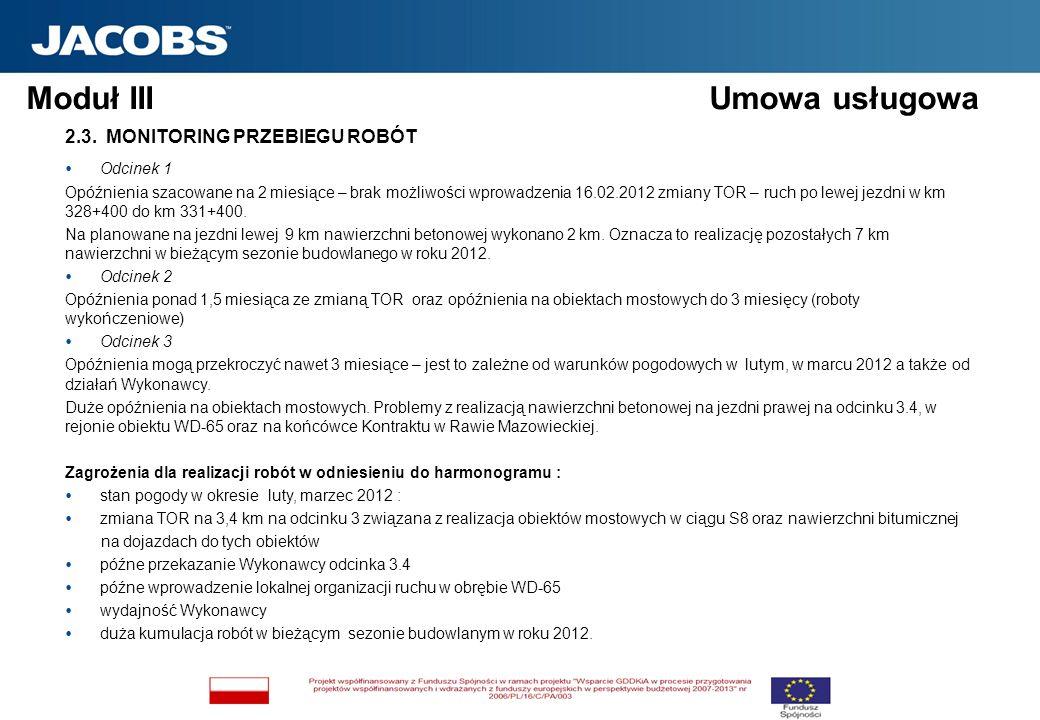 Moduł III Umowa usługowa 2.3. MONITORING PRZEBIEGU ROBÓT Odcinek 1 Opóźnienia szacowane na 2 miesiące – brak możliwości wprowadzenia 16.02.2012 zmiany