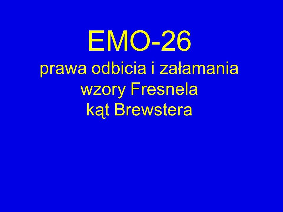 EMO-26 prawa odbicia i załamania wzory Fresnela kąt Brewstera
