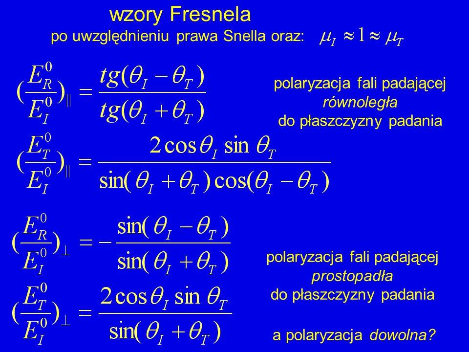 wzory Fresnela po uwzględnieniu prawa Snella oraz: polaryzacja fali padającej równoległa do płaszczyzny padania polaryzacja fali padającej prostopadła