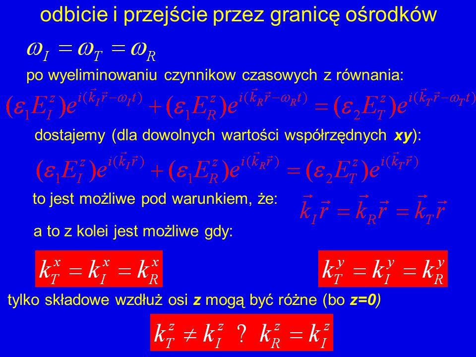 odbicie i przejście przez granicę ośrodków po wyeliminowaniu czynnikow czasowych z równania: dostajemy (dla dowolnych wartości współrzędnych xy): to j