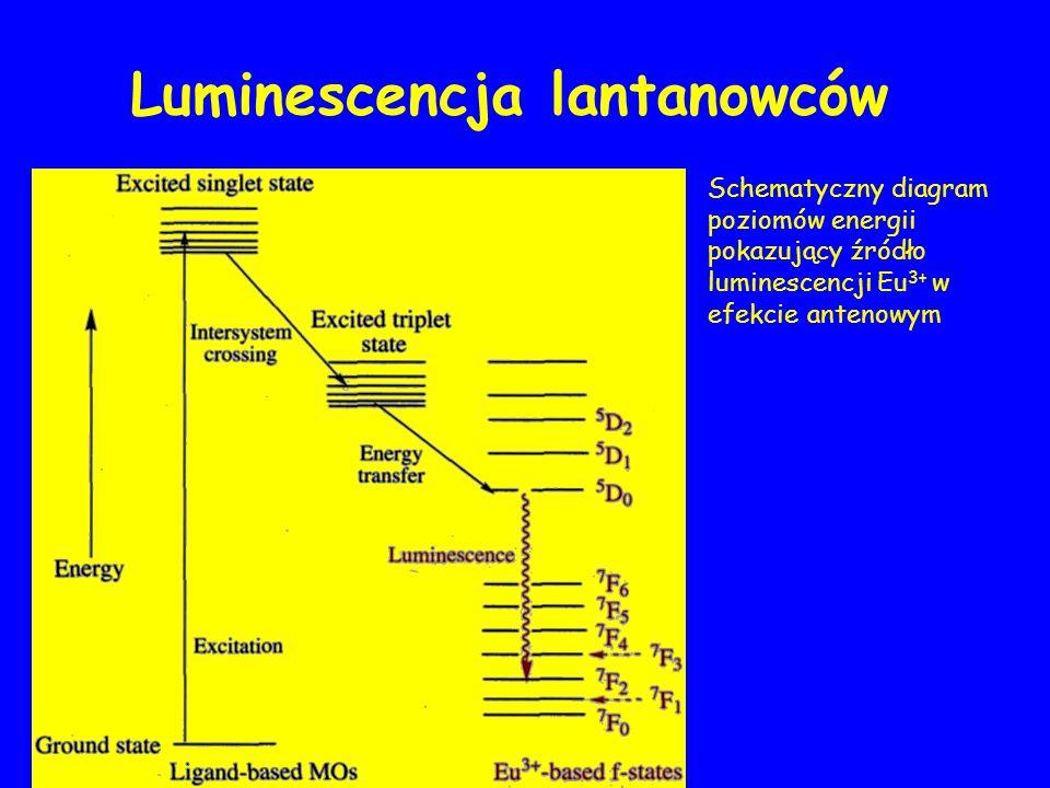 Schematyczny diagram poziomów energii pokazujący źródło luminescencji Eu 3+ w efekcie antenowym