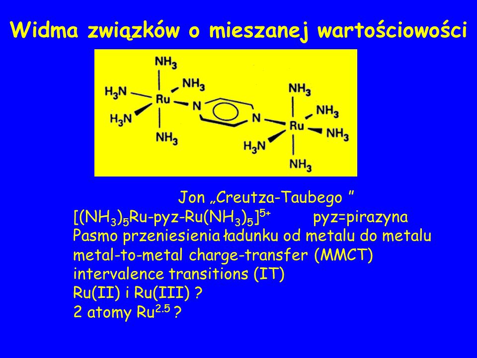 Jon Creutza-Taubego [(NH 3 ) 5 Ru-pyz-Ru(NH 3 ) 5 ] 5+ pyz=pirazyna Pasmo przeniesienia ładunku od metalu do metalu metal-to-metal charge-transfer (MMCT) intervalence transitions (IT) Ru(II) i Ru(III) .