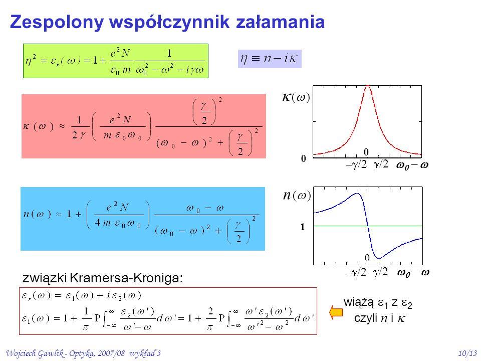 Wojciech Gawlik - Optyka, 2007/08 wykład 310/13 Zespolony współczynnik załamania związki Kramersa-Kroniga: wiążą 1 z 2 czyli n i n ( ) 1 0 – /2 /2 2 2