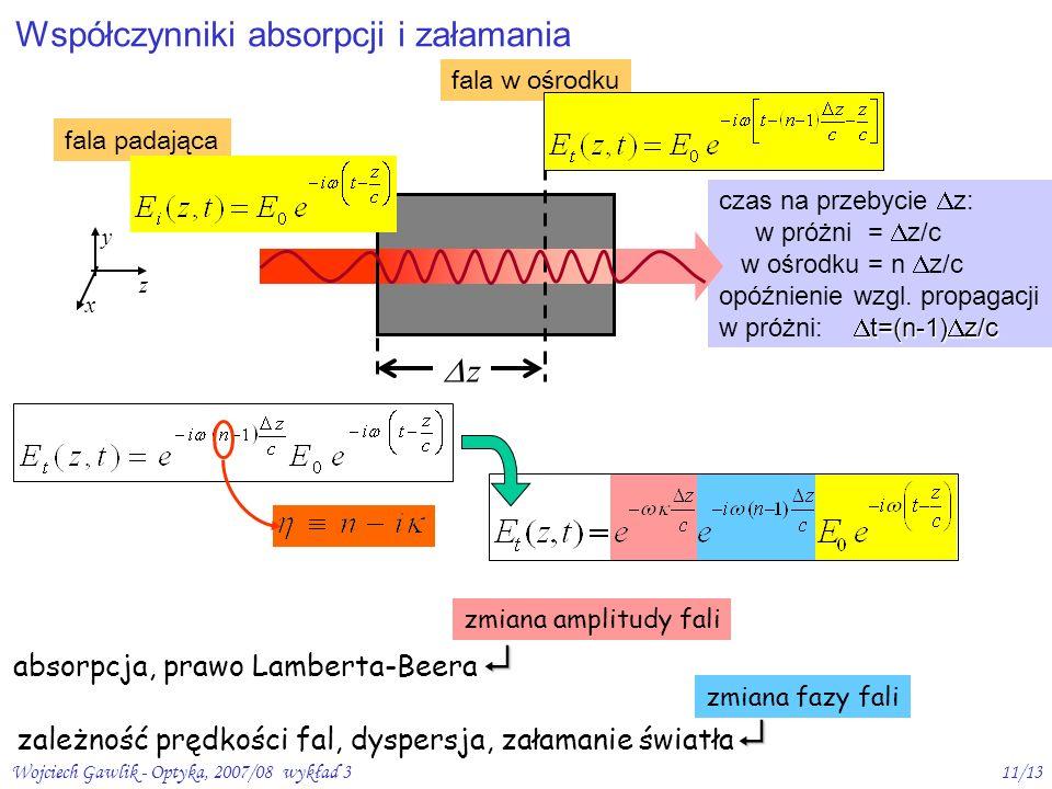 Wojciech Gawlik - Optyka, 2007/08 wykład 311/13 czas na przebycie z: w próżni = z/c w ośrodku = n z/c opóźnienie wzgl. propagacji t=(n-1) z/c w próżni