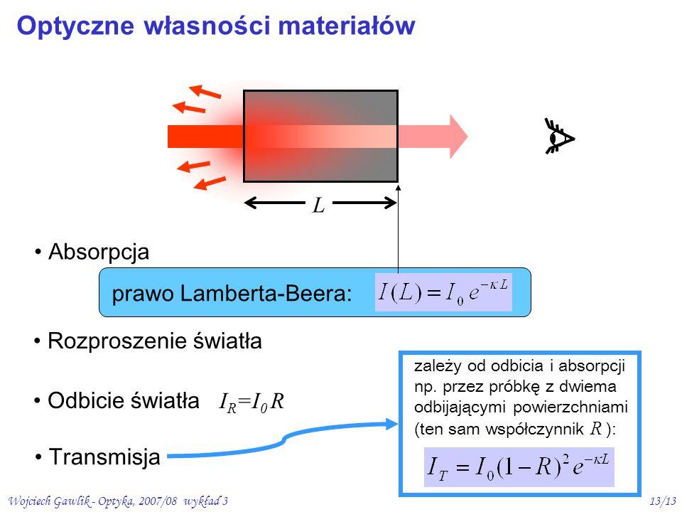 Wojciech Gawlik - Optyka, 2007/08 wykład 313/13 Optyczne własności materiałów L Absorpcja Rozproszenie światła Odbicie światła I R =I 0 R Transmisja z