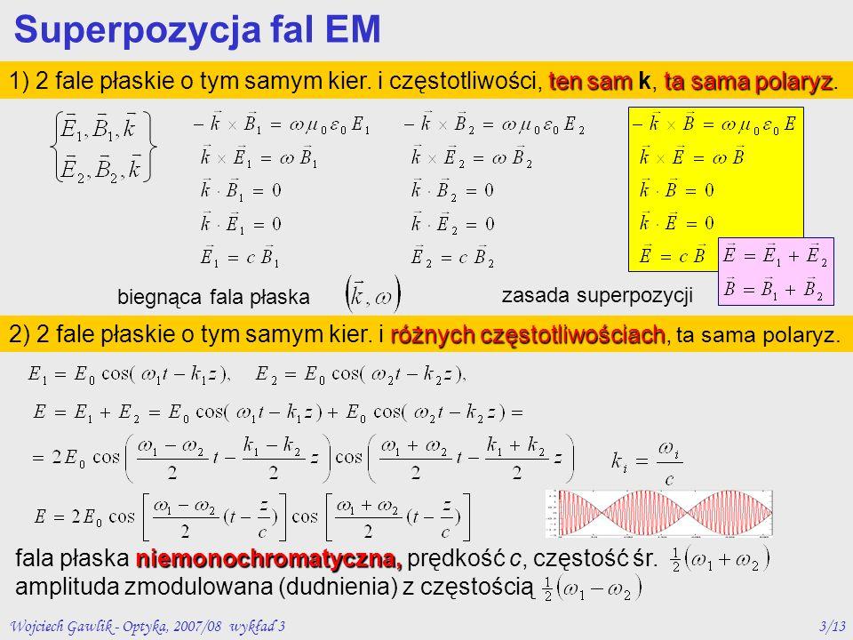 Wojciech Gawlik - Optyka, 2007/08 wykład 33/13 Superpozycja fal EM ten samta sama polaryz 1) 2 fale płaskie o tym samym kier. i częstotliwości, ten sa
