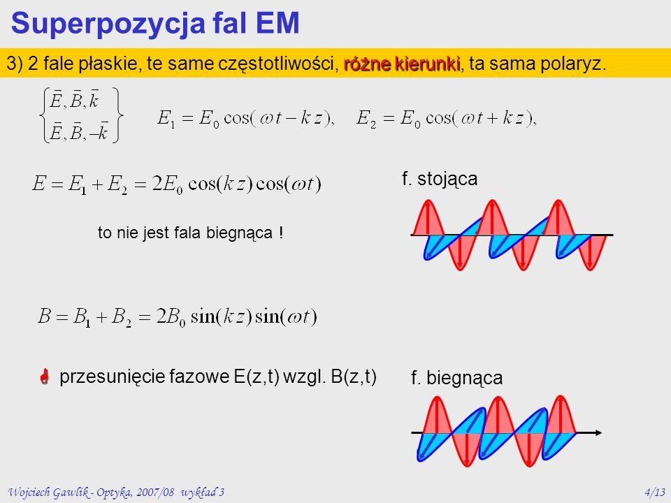 Wojciech Gawlik - Optyka, 2007/08 wykład 35/13 różna polaryzacja 4) 2 fale płaskie, te same częstotliwości, te same kierunki, różna polaryzacja Superpozycja fal EM polaryzacja liniowa lub polaryzacja kołowapolaryzacja eliptyczna
