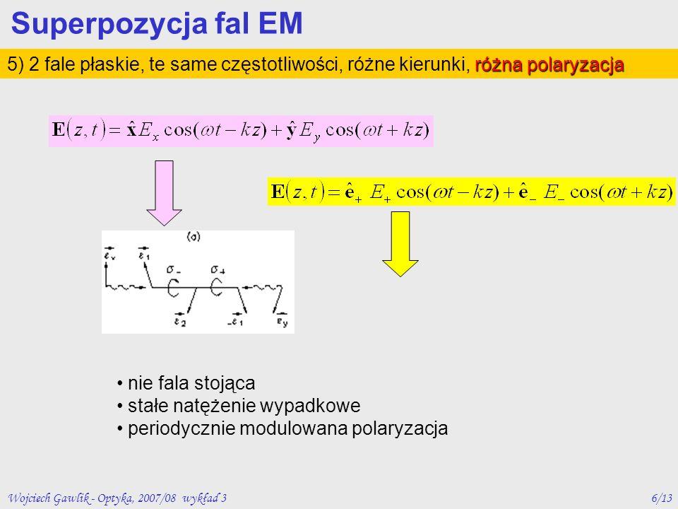 Wojciech Gawlik - Optyka, 2007/08 wykład 36/13 różna polaryzacja 5) 2 fale płaskie, te same częstotliwości, różne kierunki, różna polaryzacja Superpoz