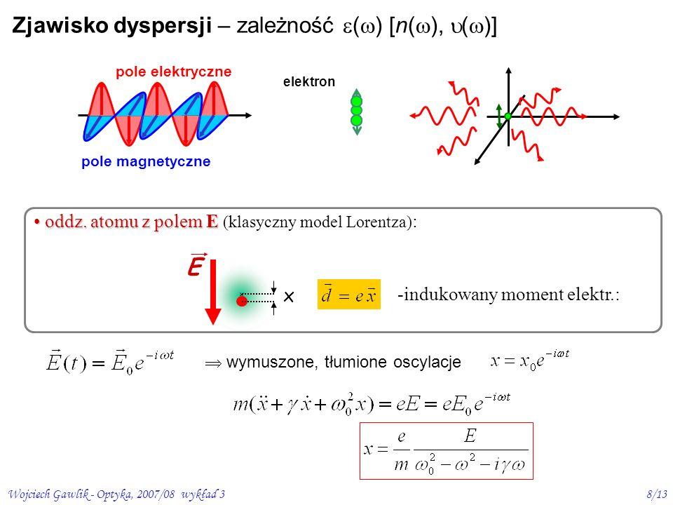 Wojciech Gawlik - Optyka, 2007/08 wykład 39/13 indukowany moment dipolowy d=ex P = N d – elektryczna polaryzacja ośrodka z elektrodynamiki - gdy N niezbyt duże (mała gęstość ośrodka) 2 = 1+ ( mlz) 1+ ½ ( mlz) n( ) 1 + ½ Re ( mlz ), ( ) ½ Im ( mlz )