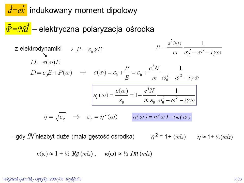 Wojciech Gawlik - Optyka, 2007/08 wykład 310/13 Zespolony współczynnik załamania związki Kramersa-Kroniga: wiążą 1 z 2 czyli n i n ( ) 1 0 – /2 /2 2 2 0 2 00 2 2 )( 2 2 1 )( m Ne ( ) 0 0 – /2 /2
