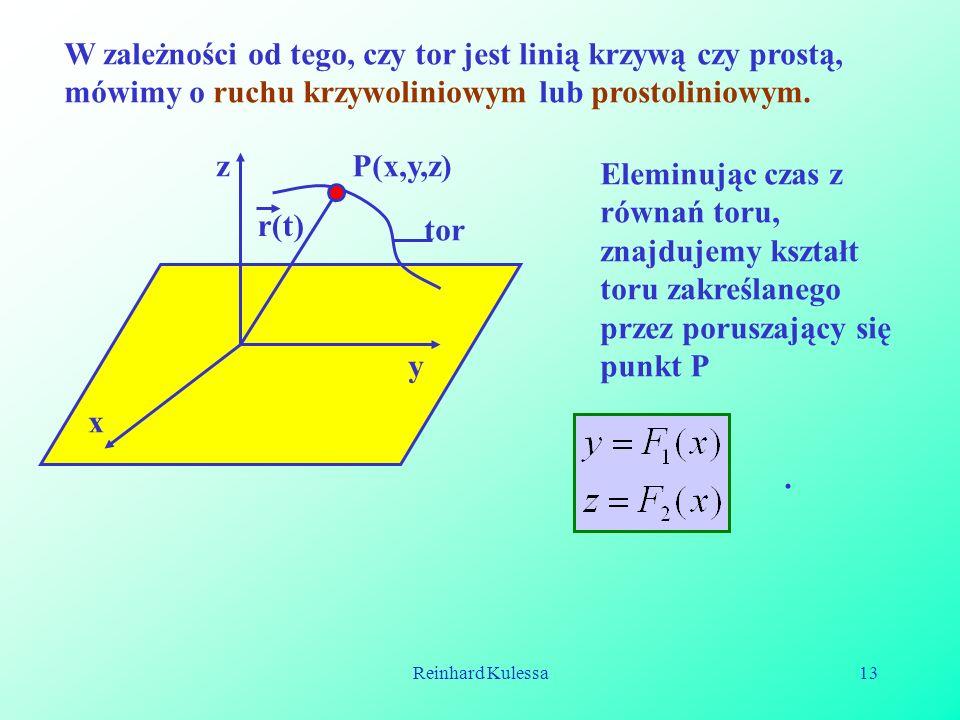 Reinhard Kulessa13 W zależności od tego, czy tor jest linią krzywą czy prostą, mówimy o ruchu krzywoliniowym lub prostoliniowym. P(x,y,z)z tor x y r(t