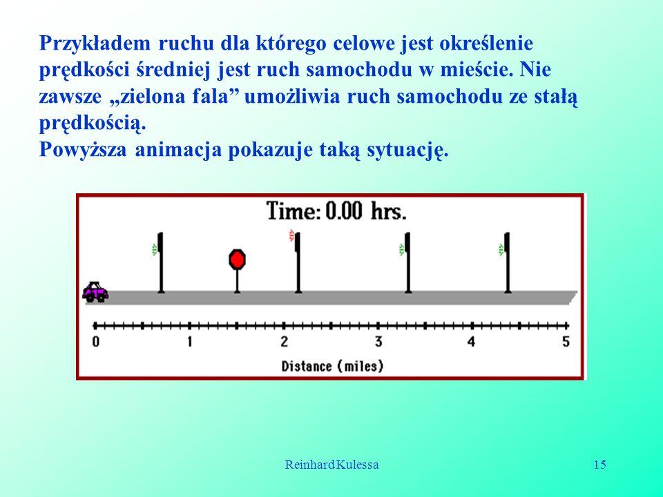 Reinhard Kulessa15 Przykładem ruchu dla którego celowe jest określenie prędkości średniej jest ruch samochodu w mieście. Nie zawsze zielona fala umożl