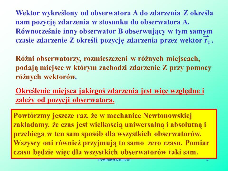 Reinhard Kulessa5 Ażeby opisać dwa zdarzenia obserwator musi zarejestrować miejsce każdego z nich, oraz odpowiedni czas.
