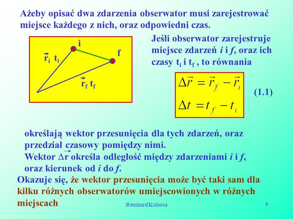 Reinhard Kulessa5 Ażeby opisać dwa zdarzenia obserwator musi zarejestrować miejsce każdego z nich, oraz odpowiedni czas. i f r i t i r f t f Jeśli obs