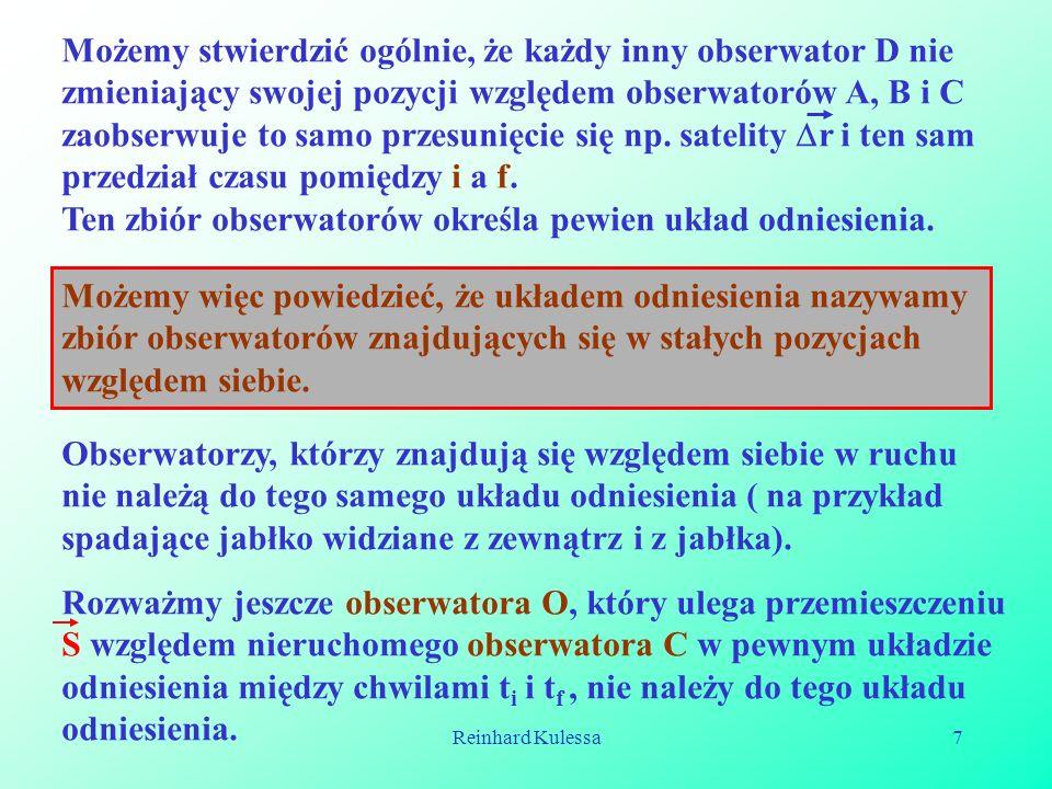 Reinhard Kulessa8 OC i f i O S S r O r C Dla obserwatora C punkt i określa początkową pozycję ruchu ciała zarówno w chwili t i jak i t f.