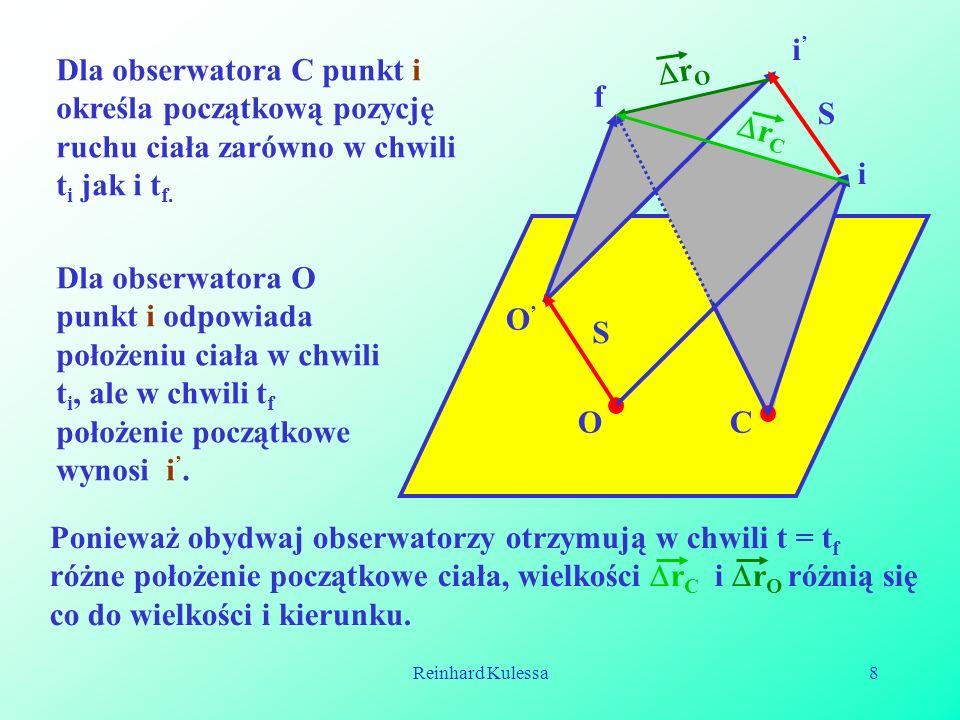 Reinhard Kulessa8 OC i f i O S S r O r C Dla obserwatora C punkt i określa początkową pozycję ruchu ciała zarówno w chwili t i jak i t f. Dla obserwat