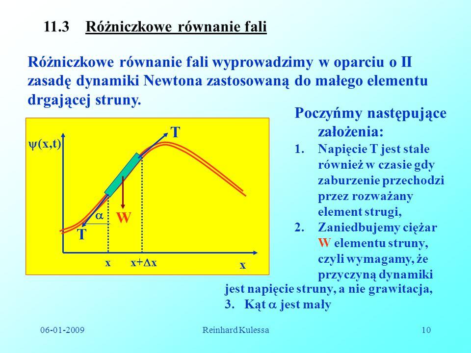 06-01-2009Reinhard Kulessa10 11.3 Różniczkowe równanie fali Różniczkowe równanie fali wyprowadzimy w oparciu o II zasadę dynamiki Newtona zastosowaną