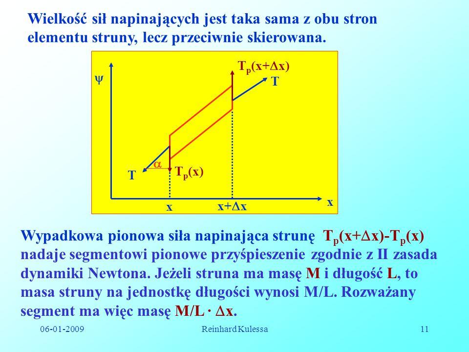 06-01-2009Reinhard Kulessa11 Wielkość sił napinających jest taka sama z obu stron elementu struny, lecz przeciwnie skierowana. T T x x+ x T p (x) T p