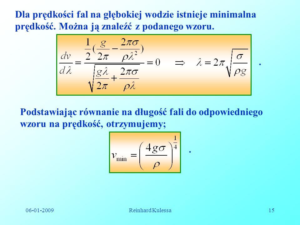 06-01-2009Reinhard Kulessa15 Dla prędkości fal na głębokiej wodzie istnieje minimalna prędkość. Można ją znaleźć z podanego wzoru.. Podstawiając równa