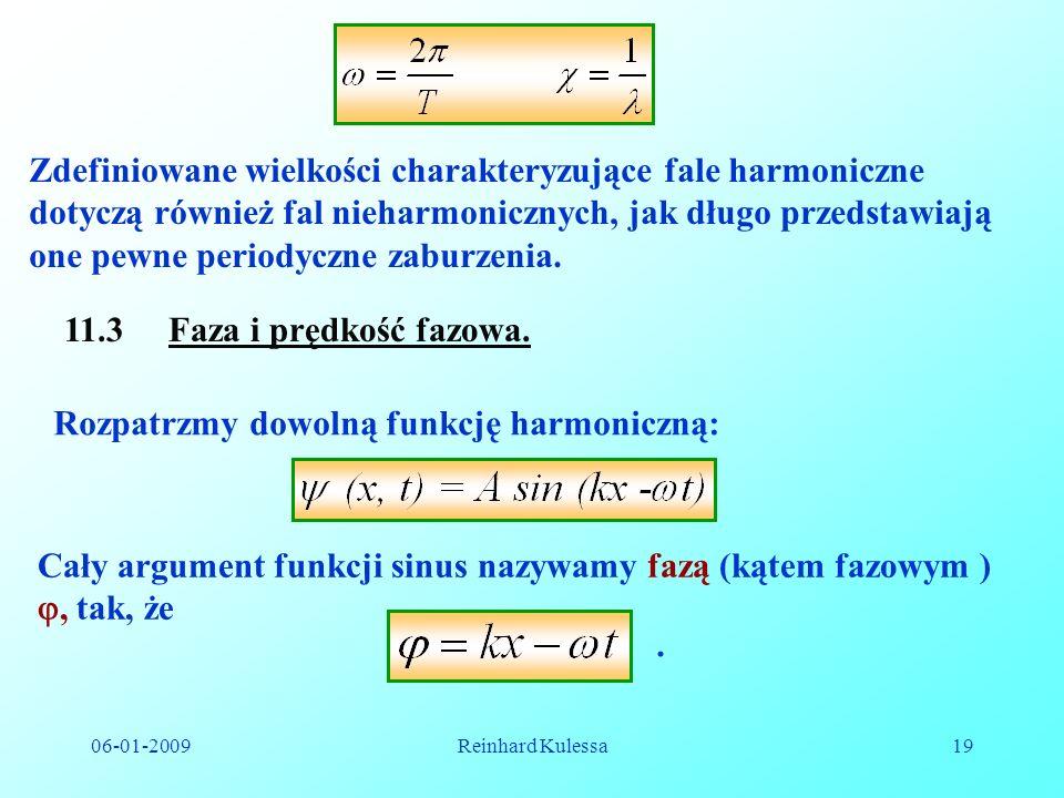 06-01-2009Reinhard Kulessa19 Zdefiniowane wielkości charakteryzujące fale harmoniczne dotyczą również fal nieharmonicznych, jak długo przedstawiają on