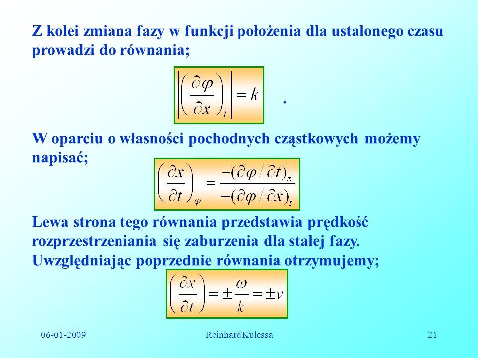 06-01-2009Reinhard Kulessa21 Z kolei zmiana fazy w funkcji położenia dla ustalonego czasu prowadzi do równania;. W oparciu o własności pochodnych cząs