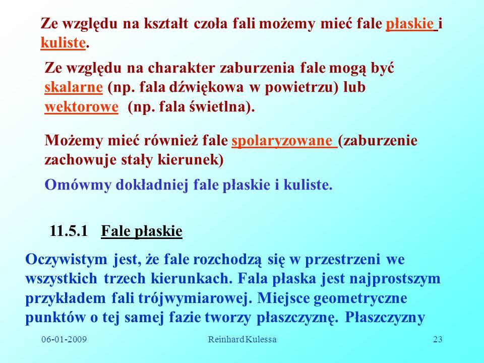 06-01-2009Reinhard Kulessa23 11.5.1 Fale płaskie Ze względu na kształt czoła fali możemy mieć fale płaskie i kuliste. Ze względu na charakter zaburzen