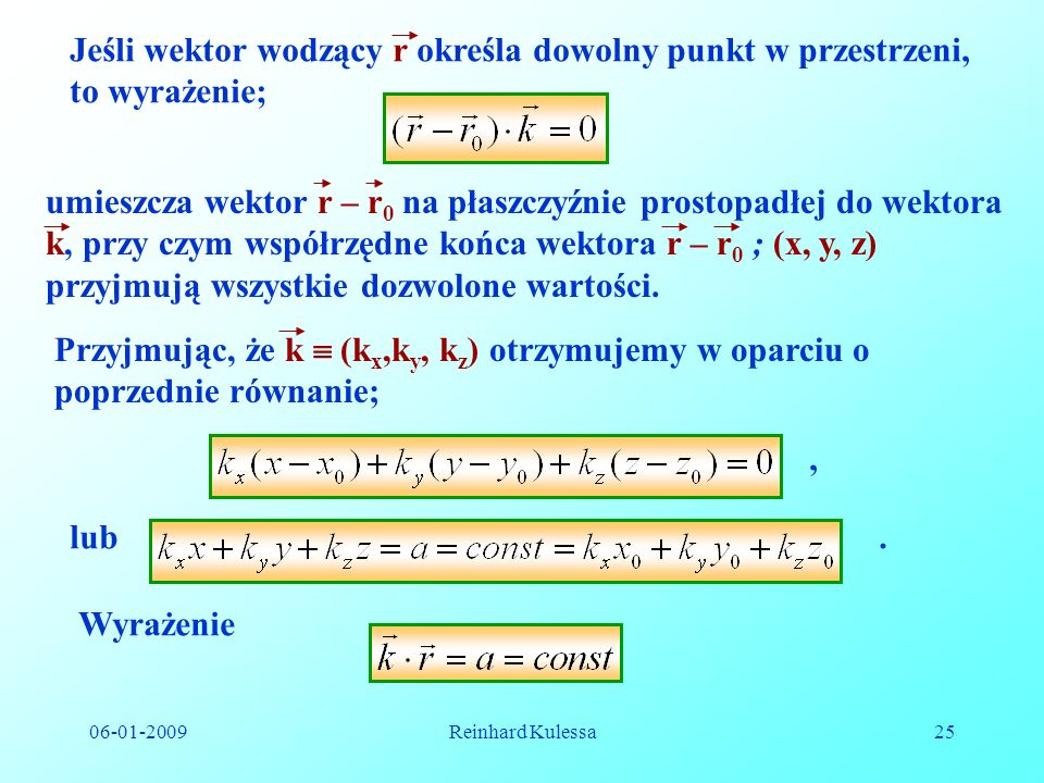 06-01-2009Reinhard Kulessa25 Jeśli wektor wodzący r określa dowolny punkt w przestrzeni, to wyrażenie; umieszcza wektor r – r 0 na płaszczyźnie prosto