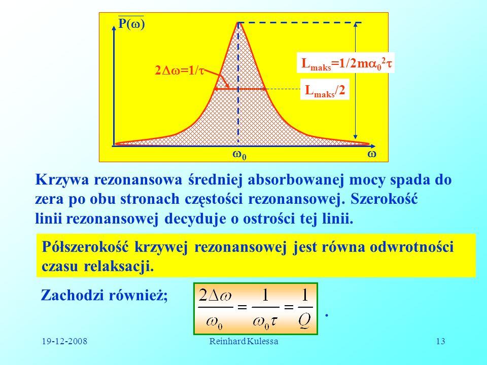 19-12-2008Reinhard Kulessa13 0 P( ) 2 =1/ L maks =1/2m 0 2 L maks /2 Krzywa rezonansowa średniej absorbowanej mocy spada do zera po obu stronach częst